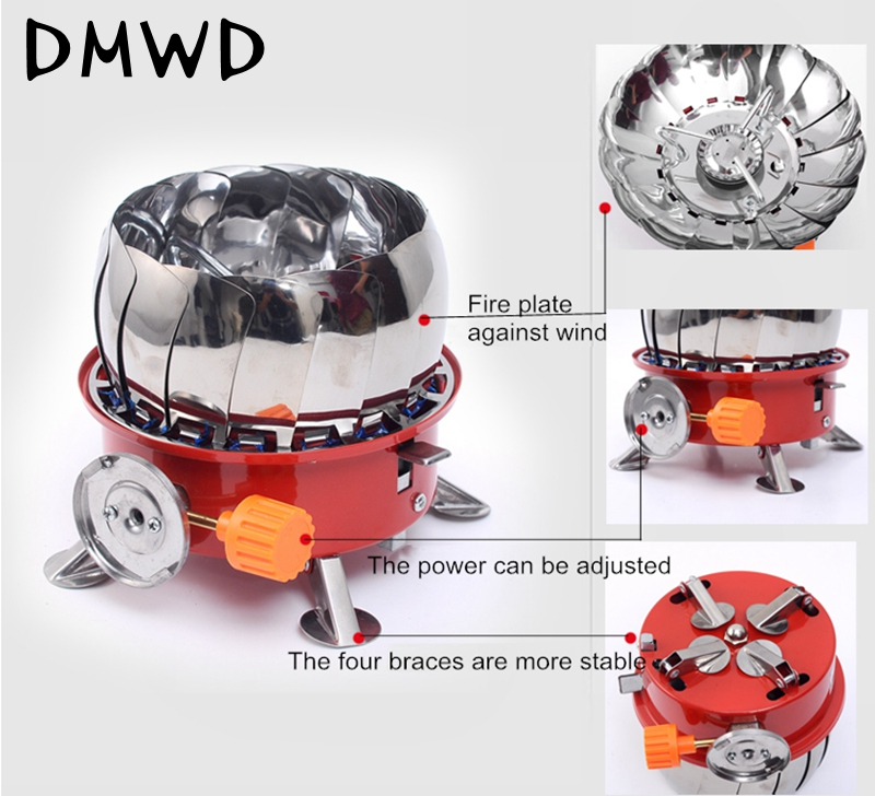 Portable Gas Stove Outdoor Stainless Steel Windproof Backpacking Gas Stove Camping Gas Stove Picnic Outdoor Cooking Tools