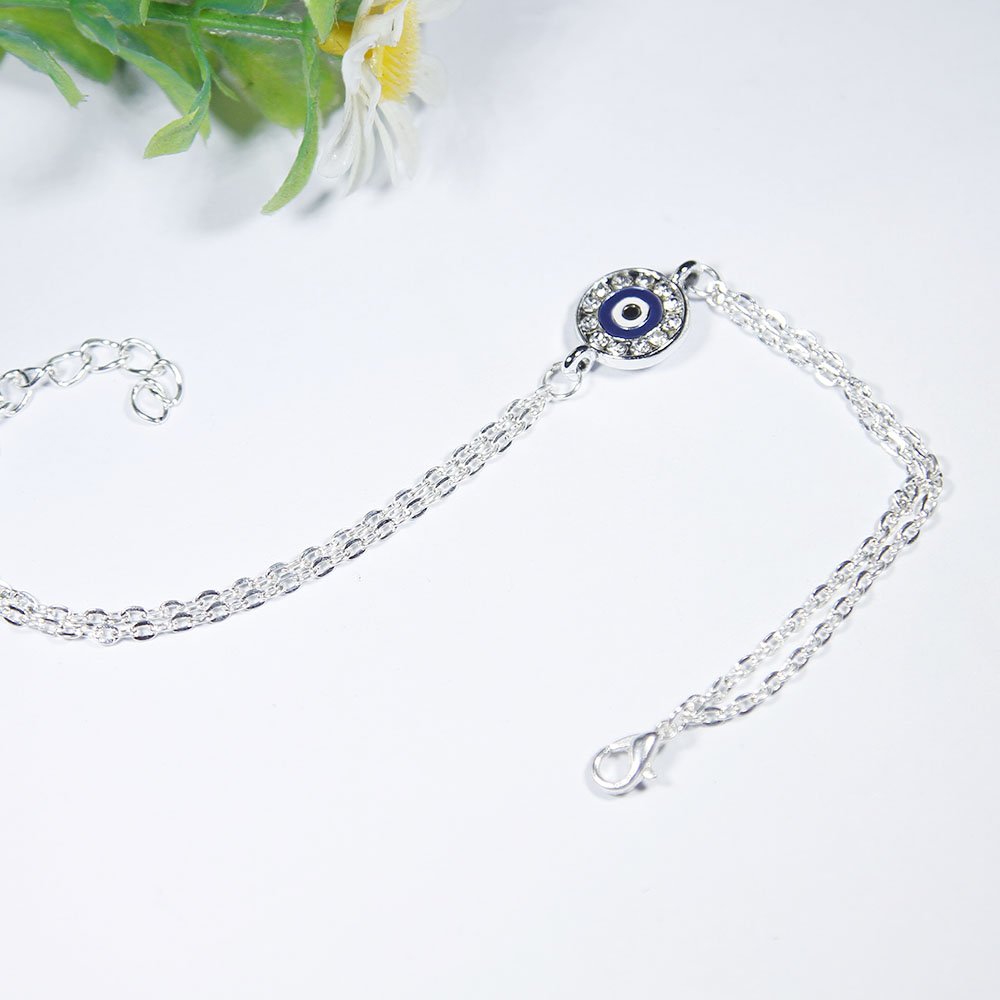 Silver Dainty Double-Layer Anti-allergic Chain bracelets & bangles Friendship Wedding Blue Crystals Eye Bracelet Gift 2018 New