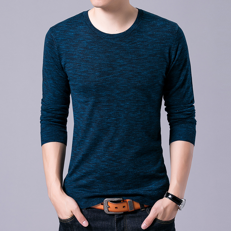 2019 New Fashion Brand Sweater For Men Pullovers Solid Color Slim Fit Jumpers Knit O-Neck Autumn Korean Style Casual Men Clothes