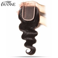 HANNE Hair 4 4 Lace Closure 1 Piece Brazilian Body Wave Human Hair Silk Base Top