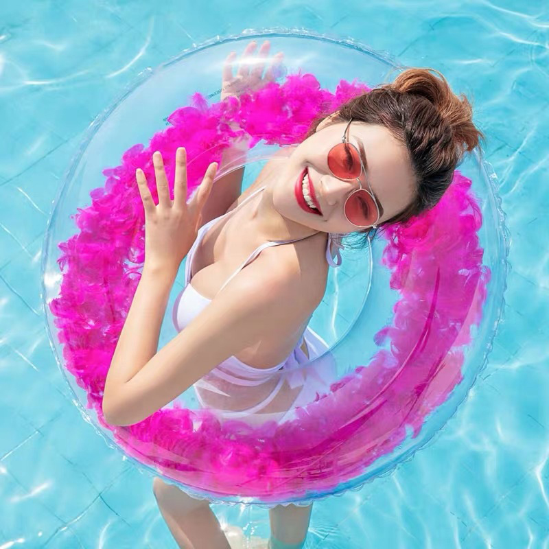2019 Summer Beach Swim Circle Float Gonfiabili Water Pool Party Inflatable Swimming Ring Baby Float Round Feather Sequins Rings