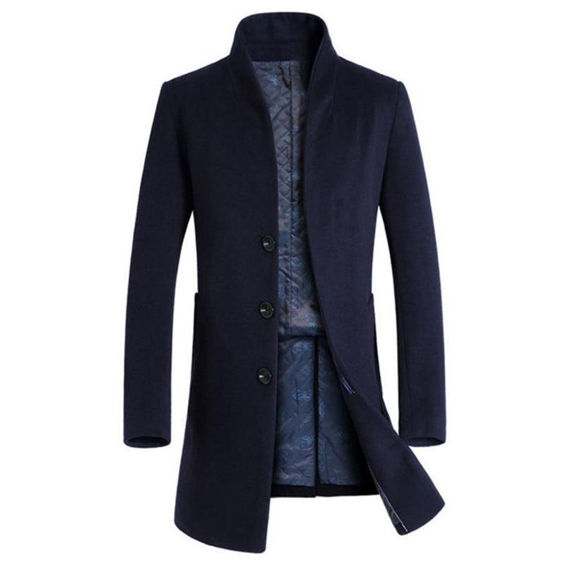 2018 Heißer Herbst Und Winter Herren Jacke Wolle Mantel Business Jacke Mantel Windbreaker Einfarbig Dünne M-3xl
