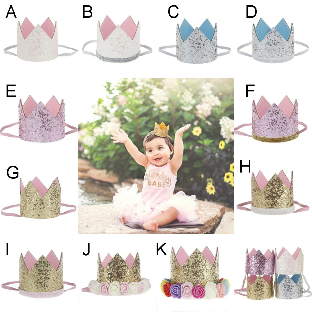 10 pcslots mini birthday crown headband gold glitter birthday 10 pcslots mini birthday crown headband gold glitter birthday crown with flowers for diy hair accessories in hair accessories from mother kids on izmirmasajfo
