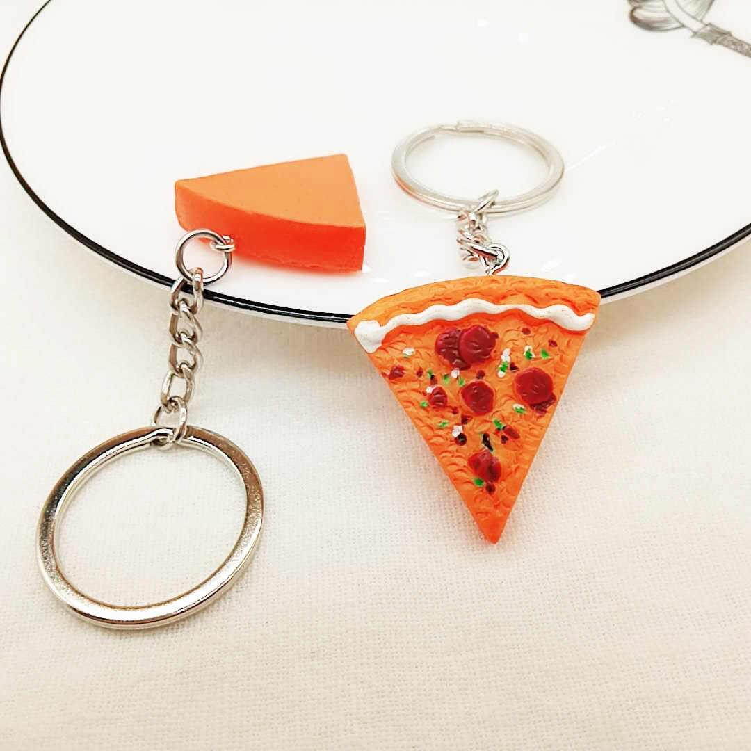 Simulasi Pizza Resin Gantungan Kunci Telepon Tas Unisex Mobil Ornamen Hadir Seri Makanan Aksesoris Kreatif Hadiah Kecil Gantungan Kunci