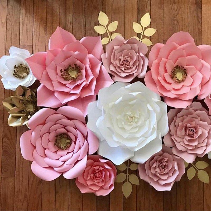 30 cm papel flor telón de fondo pared 30 cm Rosa gigante flores DIY boda fiesta Decoración 1 pieza de levantamiento de pesas Fitness DIY gran reloj de pared Powerlifting Bodybulding sin marco Reloj de pared gigante espejo 3D pegatina de pared