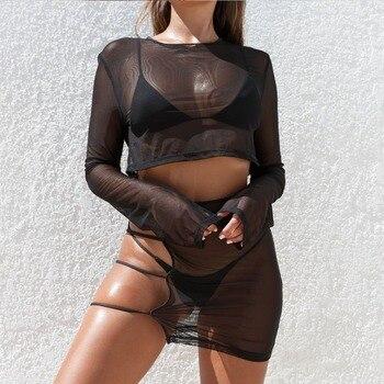 BKLD Sexy pure Mesh Club 2 deux pièces ensembles femmes 2019 tenues d'été voir à travers manches longues Crop hauts + moulante partie Mini jupe 1