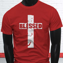 BLESSED CROSS JESUS GOD FAITH BIBLE SAVIOR LOVE Mens Red T-Shirt  Free shipping Tops t-shirt Fashion Classic Unique gift