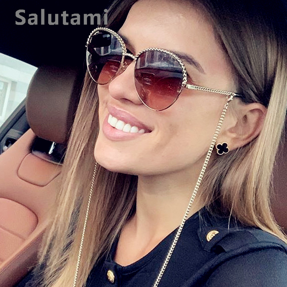 Alloy No Chic Chain Round Sunglasses For Women 2019 Luxury Brand Cat Eye Sun Glasses Frame Female Gold Clear Lens Eyeglasses