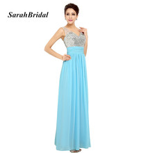 Luxury Beading Crystal V Neck Evening Dresses A Line Long 2017 New Sky Blue Chiffon Prom