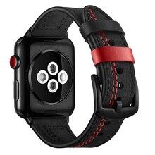 Band Voor Apple Horloge 6 Se Band 38Mm 42Mm Echte Lederen Horlogeband Iwatch Band 40Mm 44Mm serie 5 4 3 2 1 Hechtdraad Armband