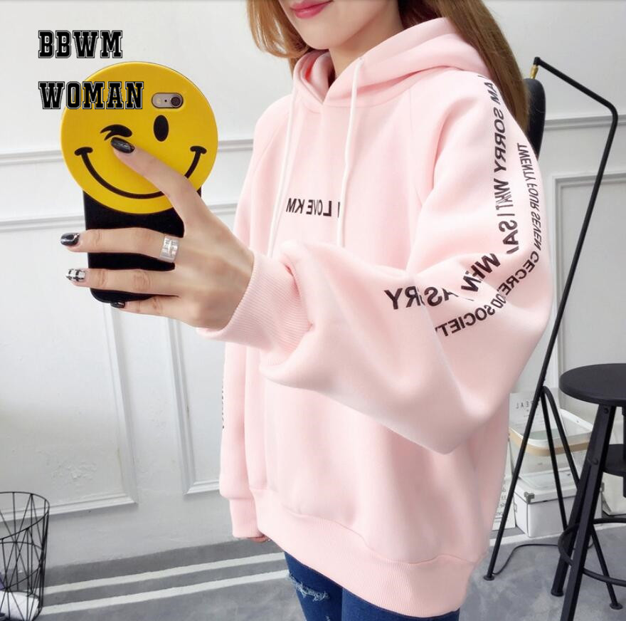 Hooded Sweater Women s Pull Over Fall Winter Clothes 2018 Korean Students Loose Plus Velvet Thickening