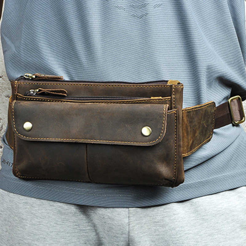 dd54ad6ee9ac5 High Quality Crazy Horse Cowhide Chest Waist Bag Bum Pouch Camera Pocket  Causal Genuine Leather Bags
