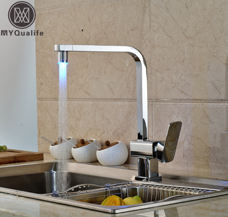 Polished Chrome LED Square Kitchen Sink Faucet Deck Mount Single Handle Rotation Kitchen Mixer Taps цена и фото