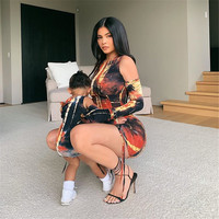 KGFIGU kylie jenner ruched dress 2019 New Neon Printing Sexy Tie dyeing Bodycon Dresses one sleeve mini vestidos high quality