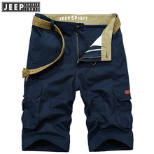 2018 Summer JEEP SPIRIT Brand Cargo Shorts Men'S Short 100% Cotton Knees Pants Fashion Pockets Beach Shorts 30-42 Above Knee