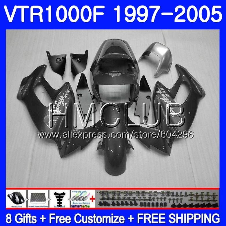 Корпус для HONDA серый глянцевый SuperHawk VTR1000F 97 02 03 04 05 77HM. 12 VTR 1000 F 1000F VTR1000 F 1997 2002 2003 2004 2005 обтекателя