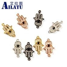Ailatu 10 sztuk na każdą część Hamsa ręcznie urok czarny i wyczyść cyrkonia oko dla DIY modna bransoletka tanie tanio Miedzi Religijne TRENDY Moda Charms About 25mm*16mm*3mm