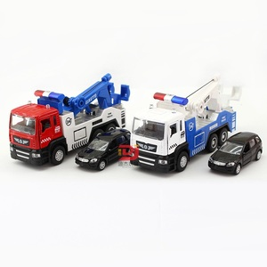 Image 5 - Legering Tow Truck Set #5009 1 (1 Truck Plus 1 Kleinere Auto) gegoten Auto Hoofd Autolichten & Geluid Functie Speelgoed