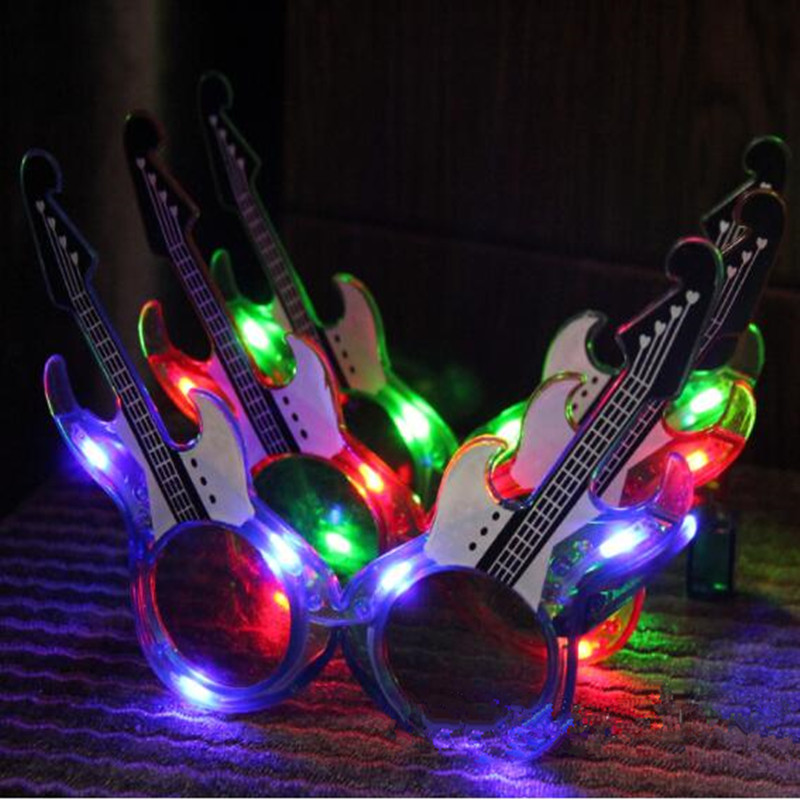 Guitar Design LED Flashing Glasses Light Eye Glasses Bar Dress Decorations Glow Party Christmas Halloween