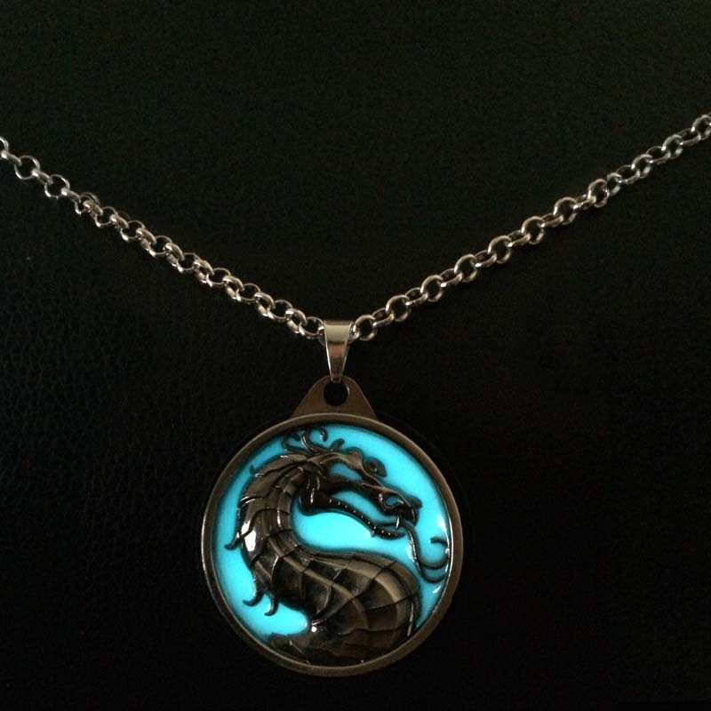 US $7 6 |2017 new luminous necklace retro glittering ice dragon and fire  dragon punk necklace-in Chain Necklaces from Jewelry & Accessories on