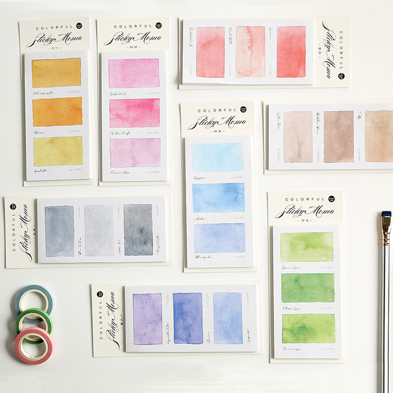 Mohamm Colours Series Kawaii Cute Sticky Notes Memo Pad Diary Stationary Flakes Scrapbook Decorative Sticky Notes