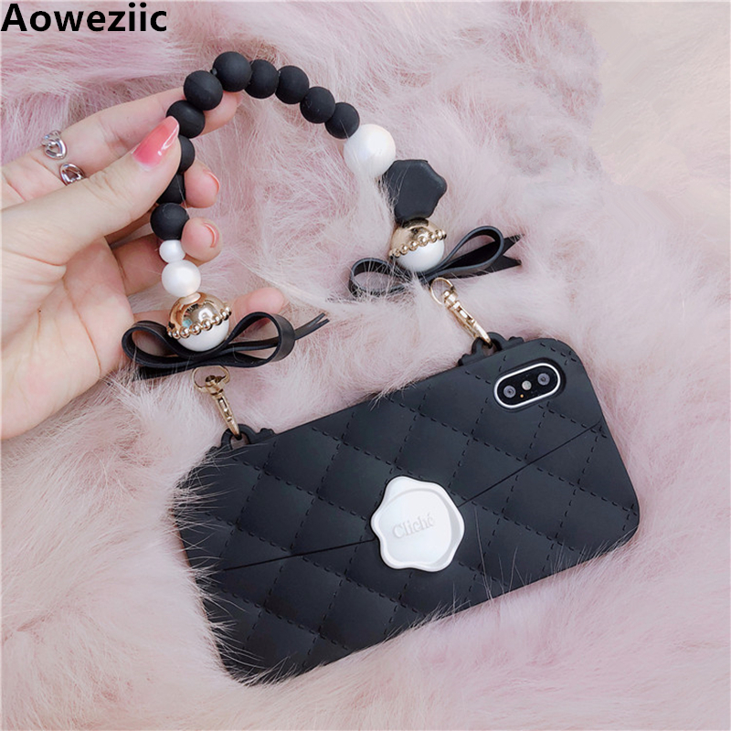 Aoweziic Fundas case For iphoneX 8Plus 7 6s plus 3D Candies Case Silicon designer Handbag chain Flower Rose women