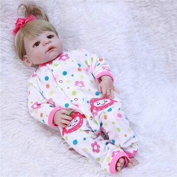 "22"" reborn babies dolls full silicone body fake baby girl dolls toys blonde hair wig with pacifier bottle bonecas reborn"