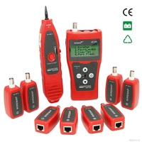 Network Coax Cable Tester NF 388 Red Handheld Cable Tester Network Cable LAN Ethernet Wire Tester