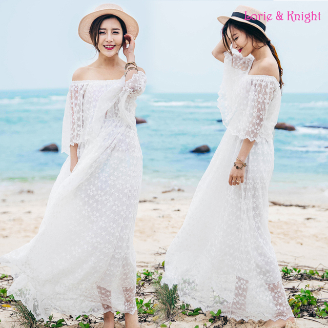 47408acd0eaf Romantic Lace Floral Jacquard Fairy White Boho Beach Dress Strapless Off  the Shoulder Summer Maxi Dress