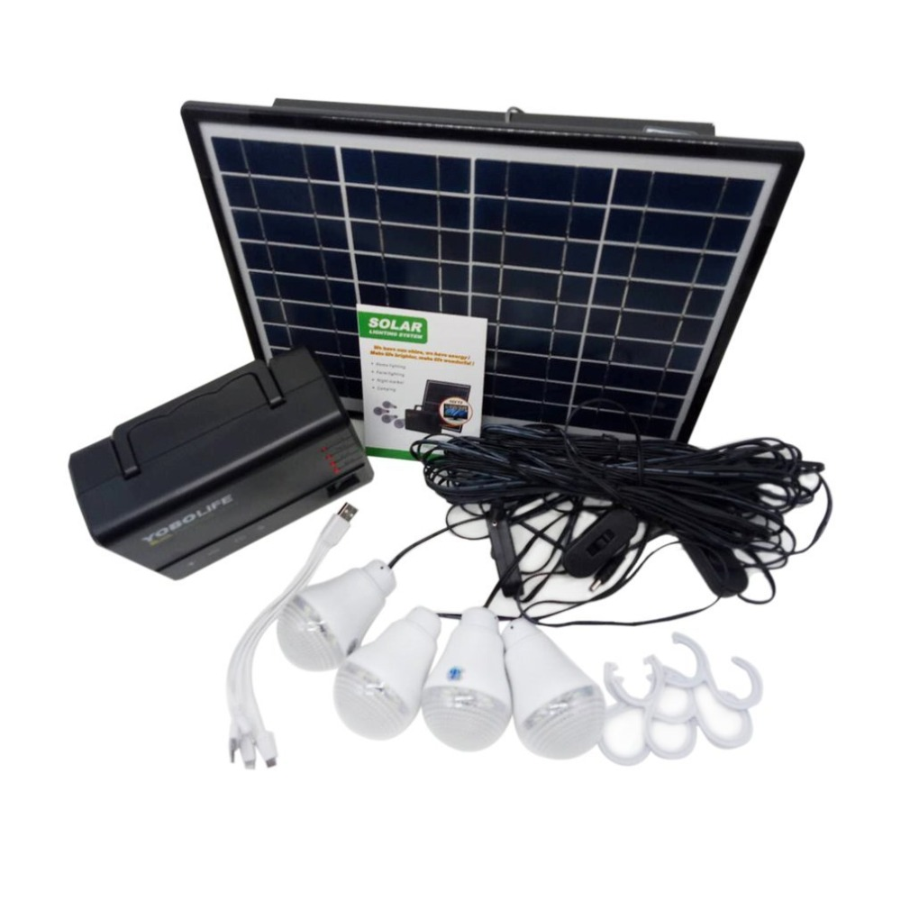 Solar Panel Power Storage Generator with LED Light Bulb USB Charger Portable Handheld Generator Power Box Home System Kit solar panel power storage generator system led light usb charger portable home outdoor led lighting system support fm radio