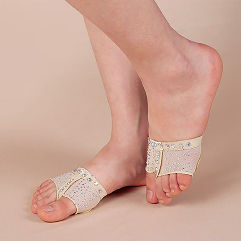 1 Pair Belly Ballet Dance Bright Drilling Toe Pad Practice Shoe Foot Care Tool Half Sole Gym Dance Shoes