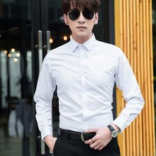 Brand 2019 Mens Work Shirts Soft Long Sleeve Square Collar Solid Color Men Dress White Male Tops Plus Size 5XL