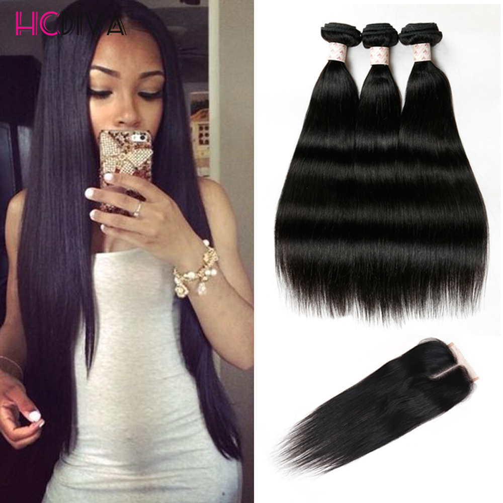 8A Malaysian Straight Hair With Closure 3 Bundles With Closures Cheap Human Hair With Closure Piece Straight HCDIVA Hair Weave