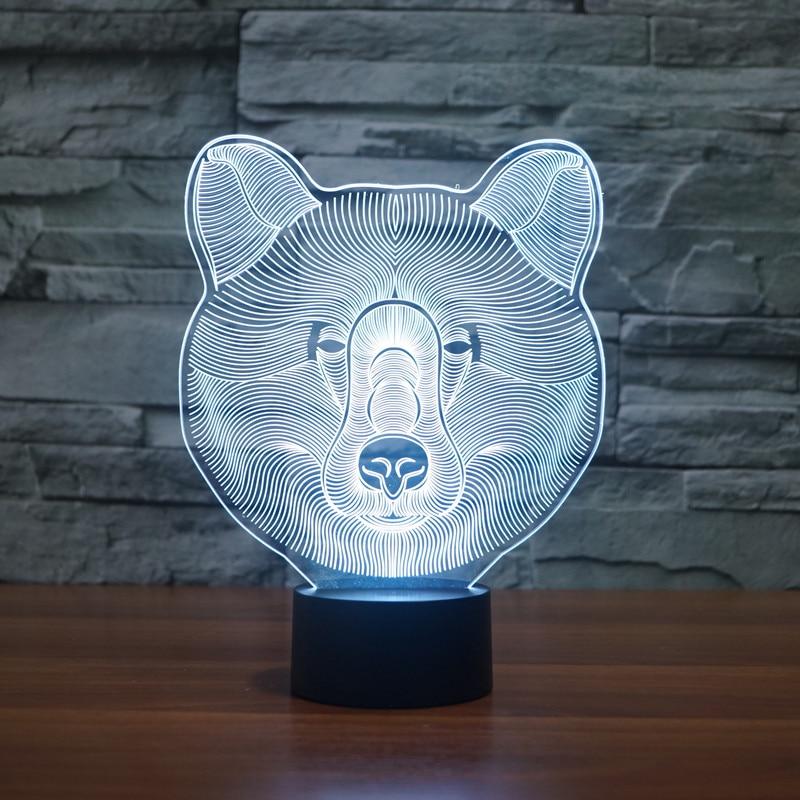 3D Illusion 7 effet coloré changement tactile interrupteur USB Table lumière génial jouet cadeau décoration pour garçons et filles (ours polaire)