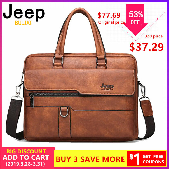 5fd8f92a8b JEEP BULUO Men Briefcase Bag High Quality Business Famous Brand Leather  Shoulder Messenger Bags Office Handbag 14 inch Laptop