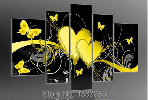 Handemade Oil Painting 5 Piece Love Heart Butterfly On The