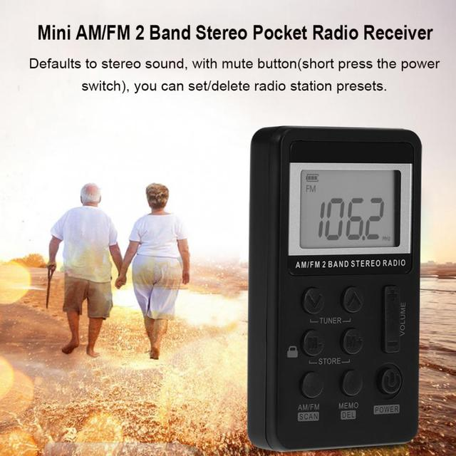 Portable Radio FM AM Dual Band Stereo Mini Pocket Radio Receiver with LCD Display & Earphone & Rechargeable Battery