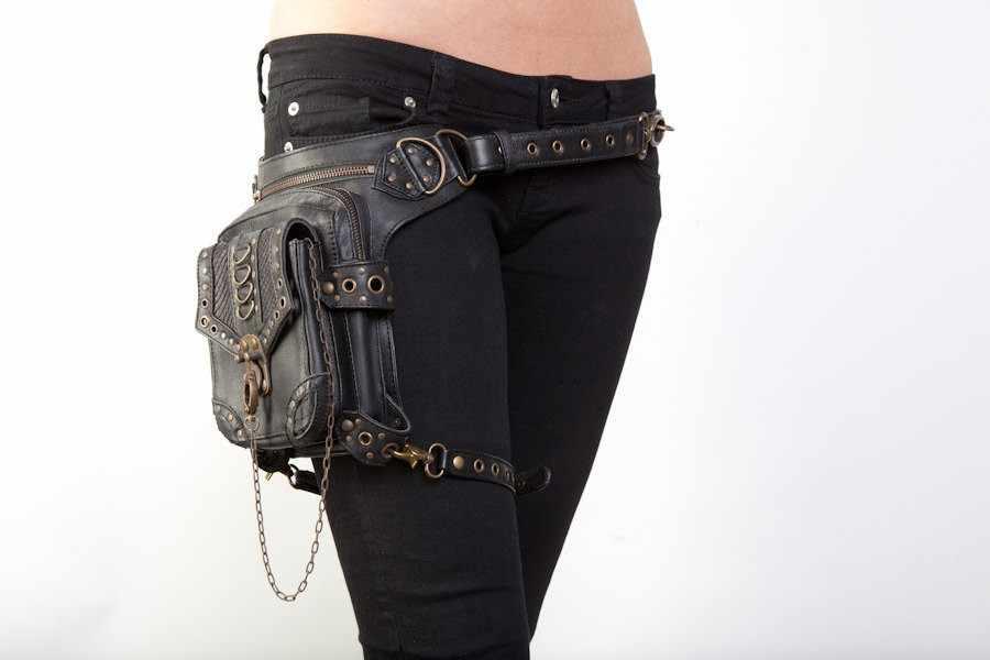 Regalo de Halloween Steampunk Vintage bolsa Rosa Hombre Ardiente vapor Punk Retro Rock gótico cintura pack mujeres muslo cadena pierna bolsa traje