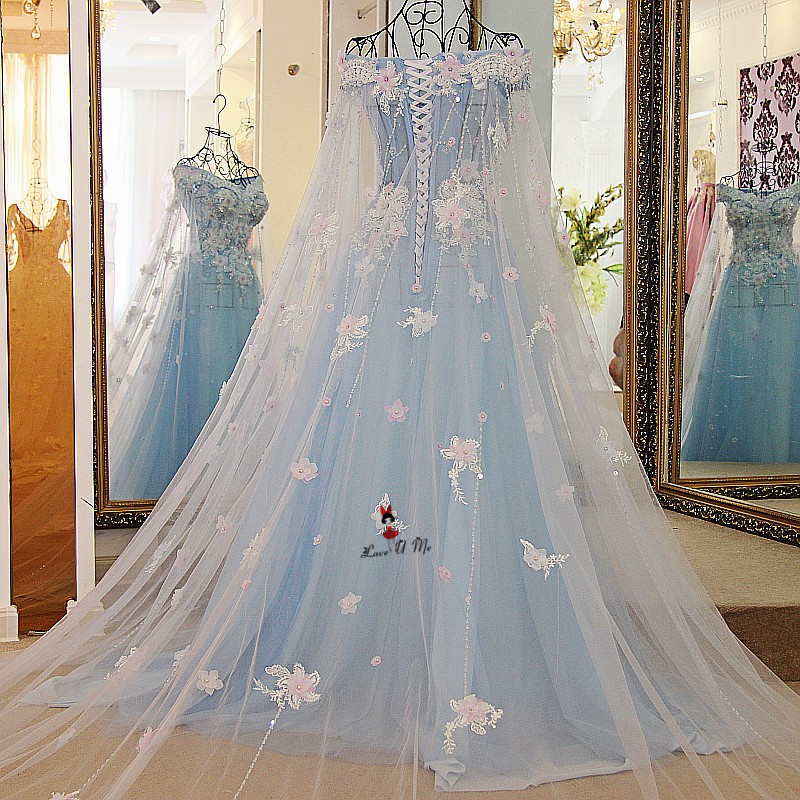Baby Blue Wedding Dress Vintage Bohemian Wedding Gowns Pink Flowers ...