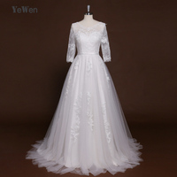 YeWen Ivory Lace Beach Vintage Wedding Dress 2017 Beaded Sexy V Back Sweatheart A Line Wedding Gown Long Sleeves bridal dress