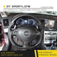 Real Carbon Fiber Glossy Black Car Styling Universal Steering Wheel Replacement Suitable For Infiniti QX70 QX50 Q50 G37