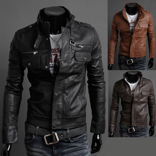 Popular Mens Fashion Faux Leather Jackets Designer Casual-Buy ...