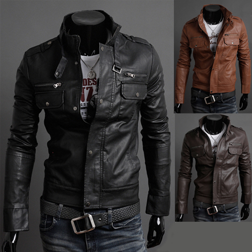 Mens Fashion Faux Leather jackets Designer Casual Slim fit outerwear Tops New Coats XS S M L 8961