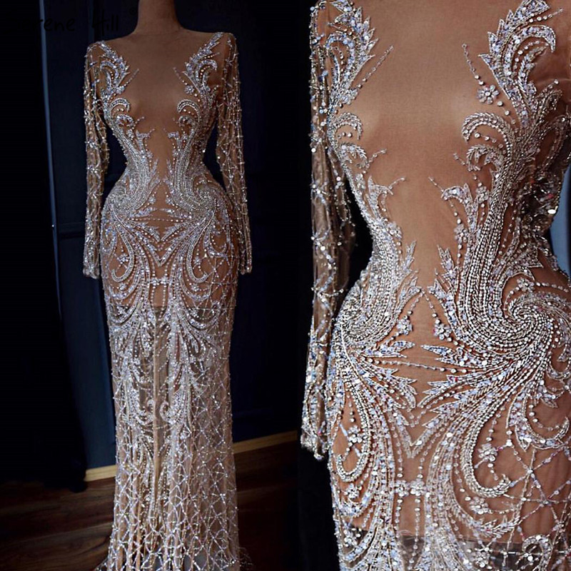 Design Avondjurken.Dubai Designer Luxe Illusion Sexy Avondjurken 2019 Naakt Lange Mouw