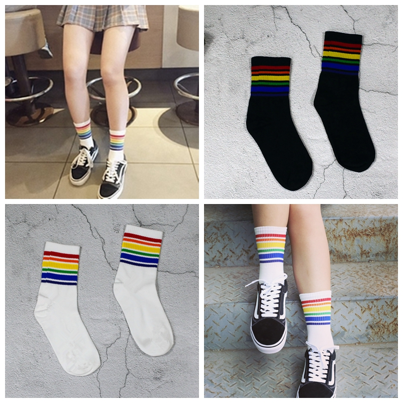 Harajuku Cool Skateborad Short Rainbow Socks Art Women Fashion White Cotton Cocks Hipster Cartoon Colored Ankle Socks Female