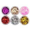 6 Unids Nail Art Sticker Decoraciones Glitters Hexgon Escama Lentejuela para Esmalte de Uñas Consejos de Decoración de Uñas de Manicura Pedicura Herramientas de BRICOLAJE
