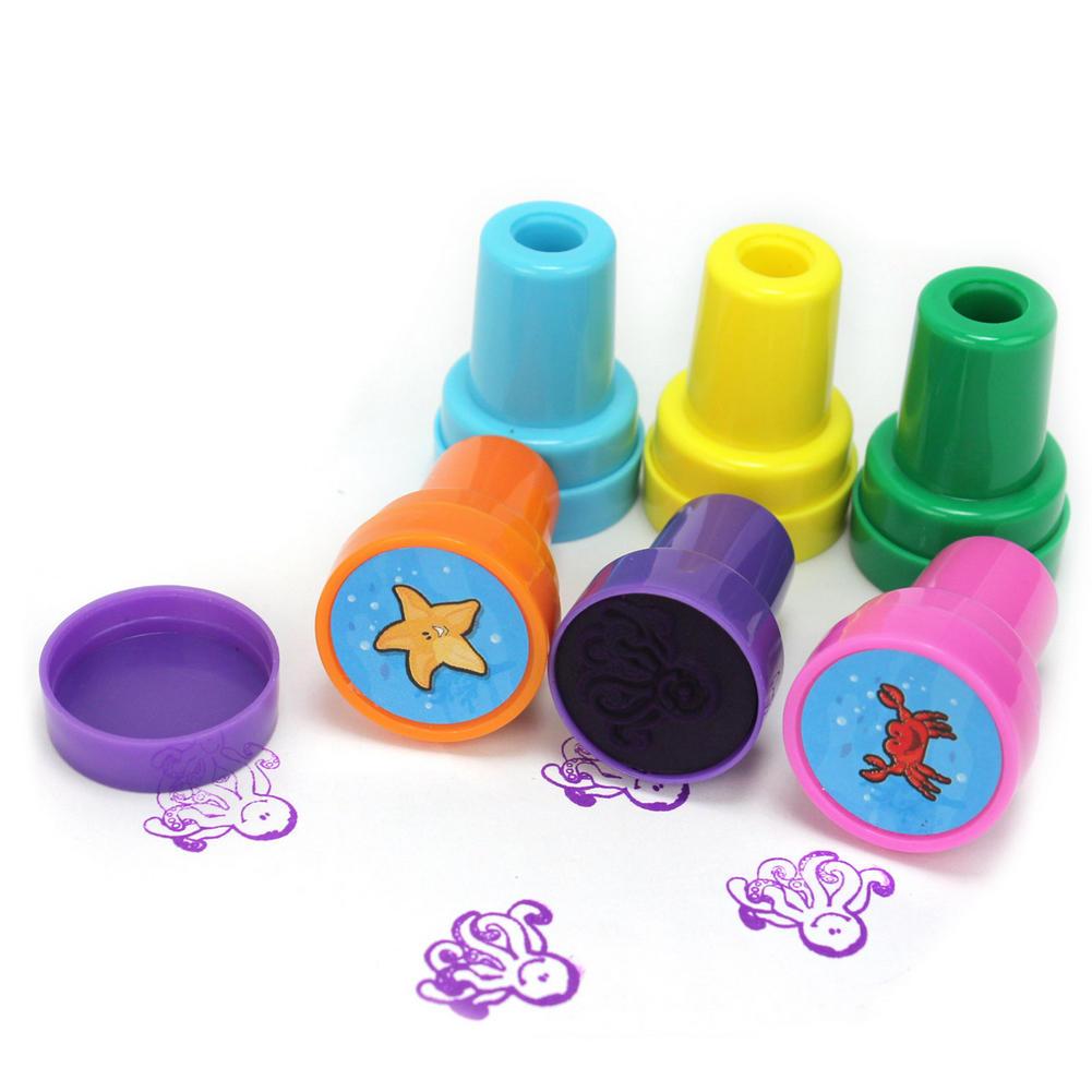 6 adet Sevimli Mini Okyanus Hayvanlar Tasarım Yuvarlak DIY El Yapımı Scrapbooking için Craft Pullar Öz-Mürekkep Stampers Çocuklar Çocuk oyuncaklar