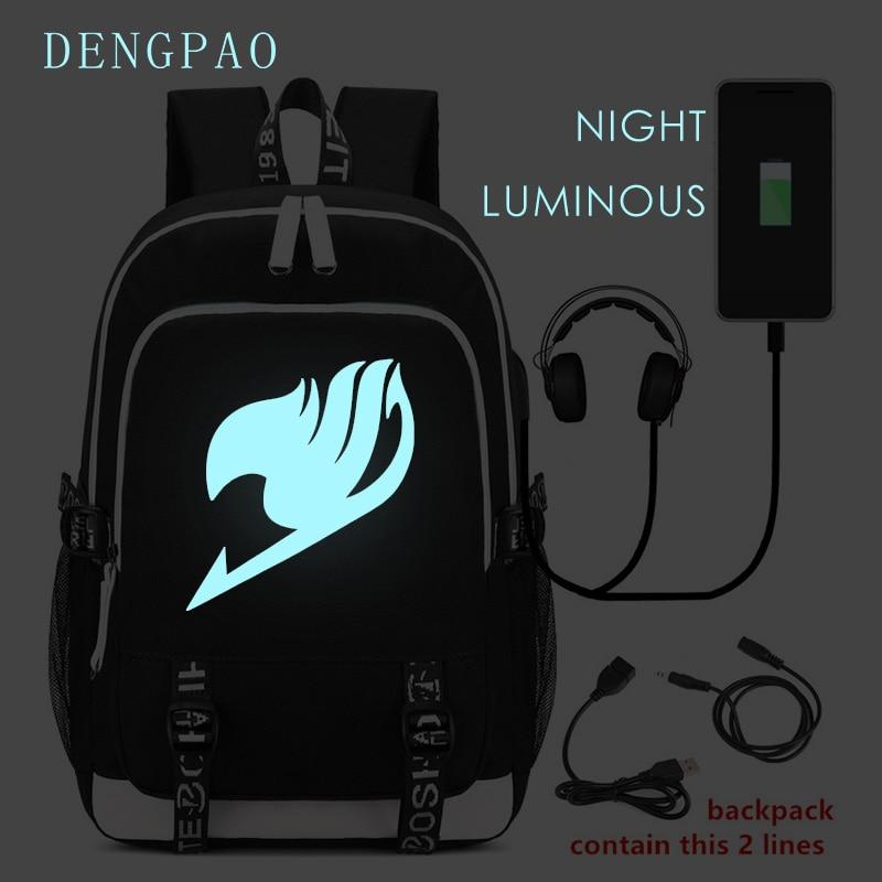 DENGPAO Fairy Tail Laptop Backpack Waterproof Luminous Children s Backpacks for Girls Boys Mochilas Femininas for