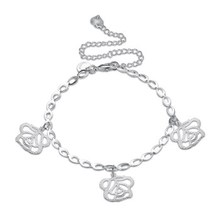 MEIJIA Plant Anklets for Women Silver Plated Anklet Jewelry Rose Charm Anklet Foot Jewelry Charms 2017 LKNSPCA175