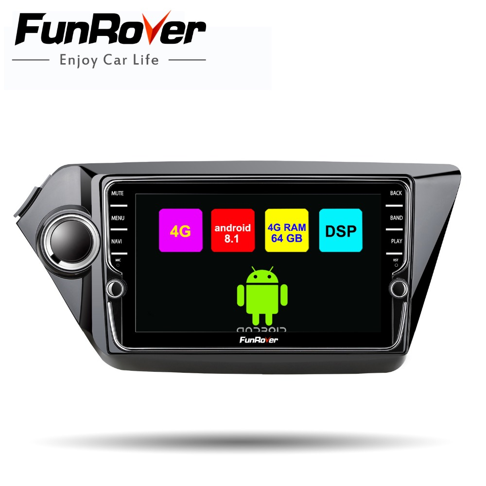 2 Funrover android 8.1 din car dvd player multimídia para Kia k2 rio 2011-2016 rádio do carro de navegação gps DSP tela dividida 4G + 64G